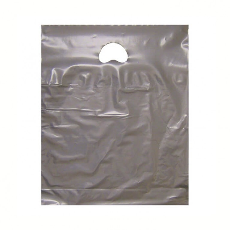 "Silver Plastic Carrier Bags (15"" x 18"")"