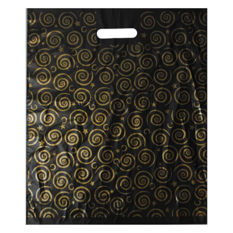 Black and Gold Carrier Bag - 15 inch