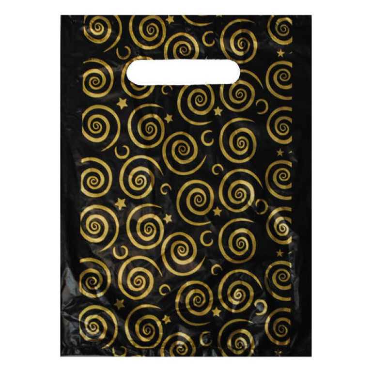 Black and Gold Carrier Bag - 7 inch