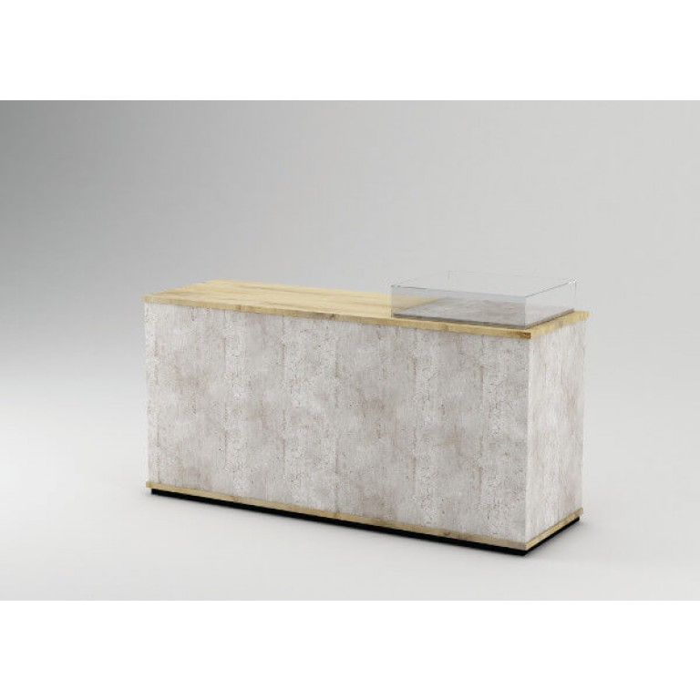 Planked Oak Cash Counter With Concrete Finish