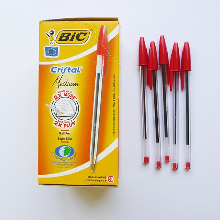 Red Bic Ball Point Pens - Pack 50