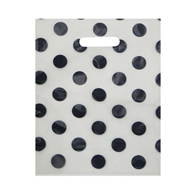 black spotty carrier bag