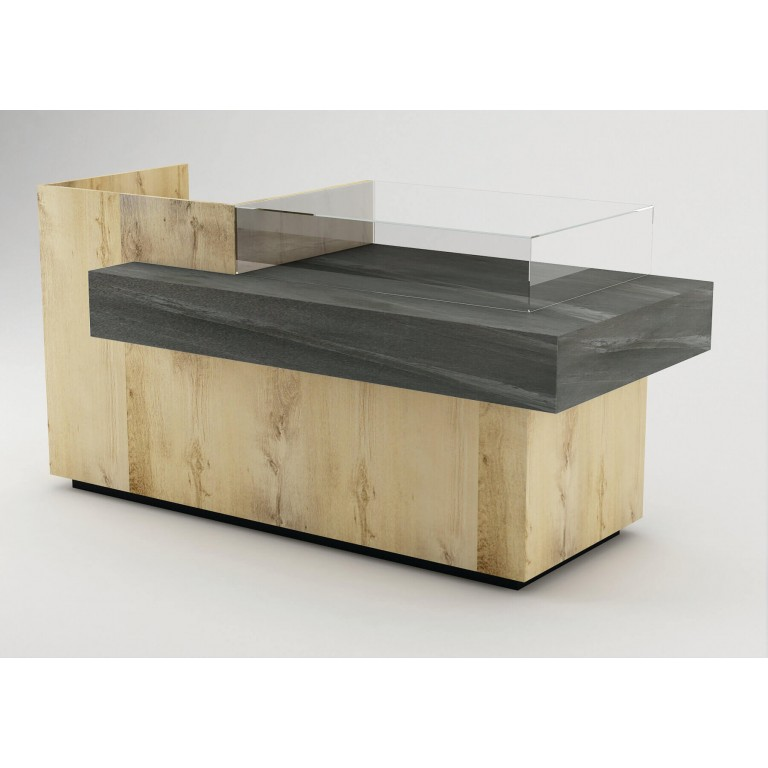 oak cash counter with black stone panel and glass display case