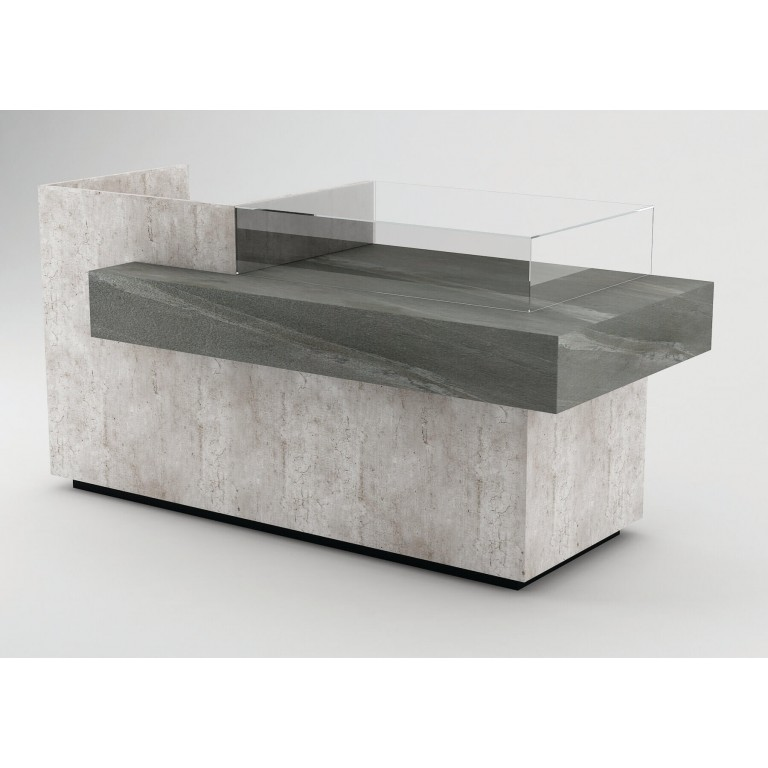 Concrete Cash Counter (Banchi Cassa) With Black 'Real Stone' Surface