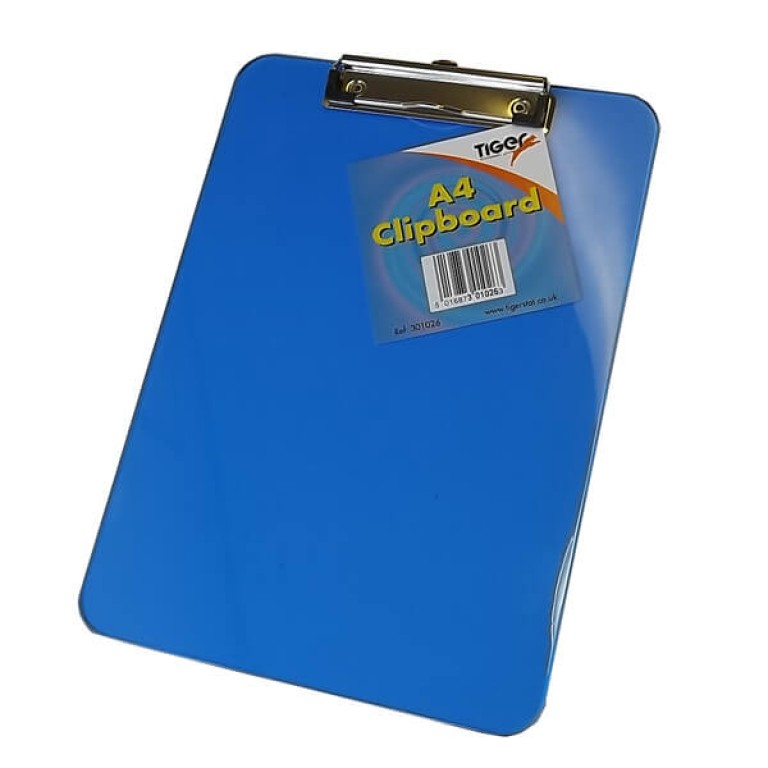 A4 Coloured Plastic Clipboard