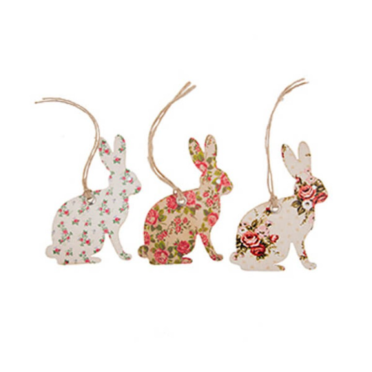 Rose Bunny Gift Tags - Set of 15