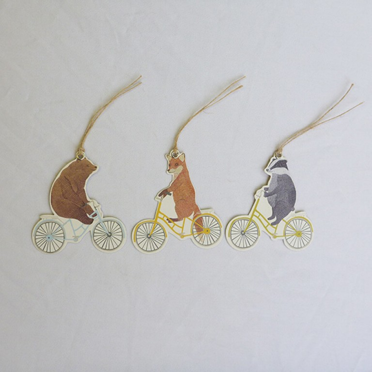 Happy Animals On Bikes Gift Tags - Set of 12