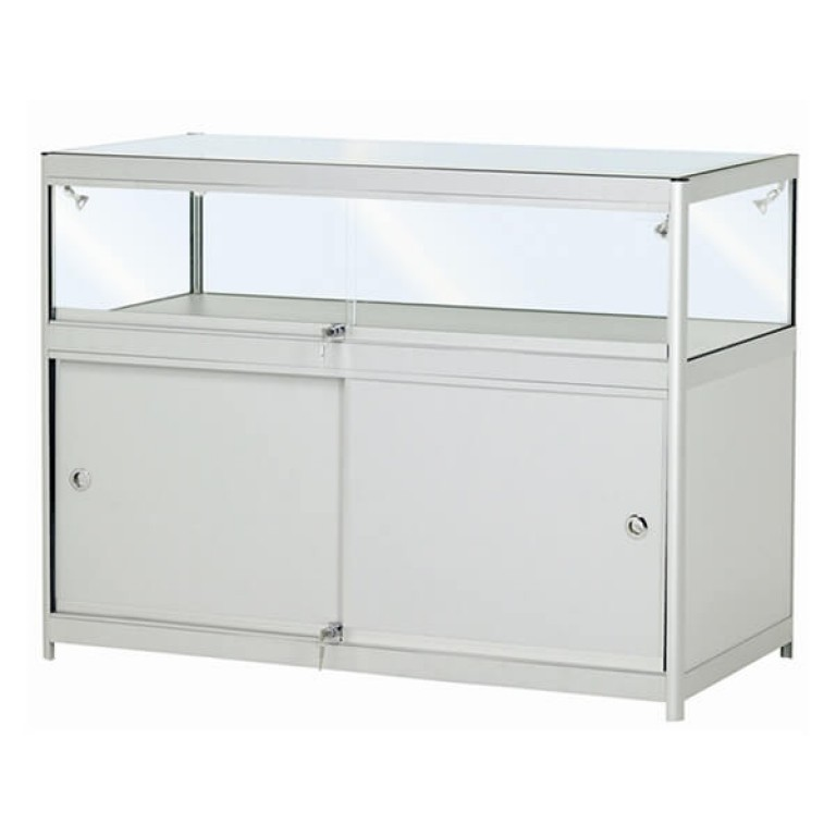 Single Tier Glass Display Cabinet with Storage - Small