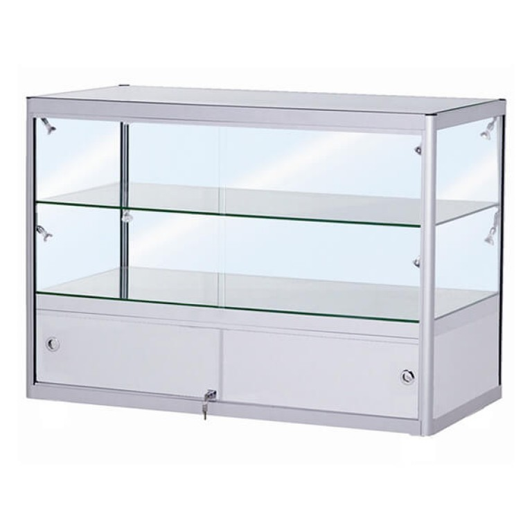 Double Tier Glass Display Cabinet with Storage - Small