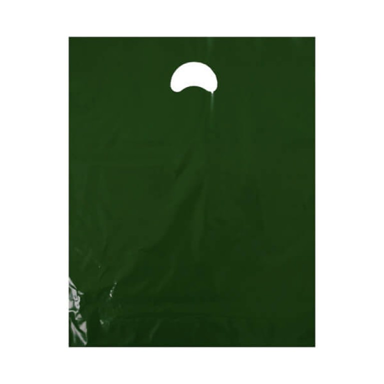 "Dark Green Plastic Carrier Bags (15"" x 18"")"