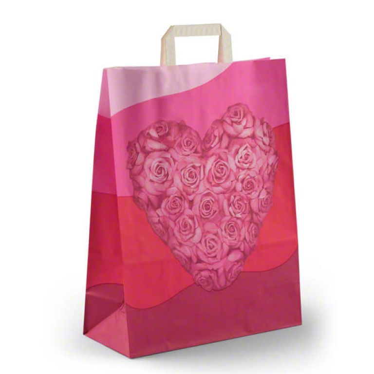 Small Carrier Bag (pink heart design)