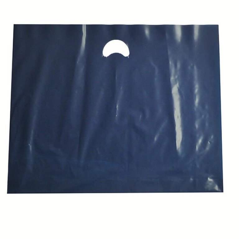 "Navy Plastic Carrier Bags - Large (22"" x 18"")"