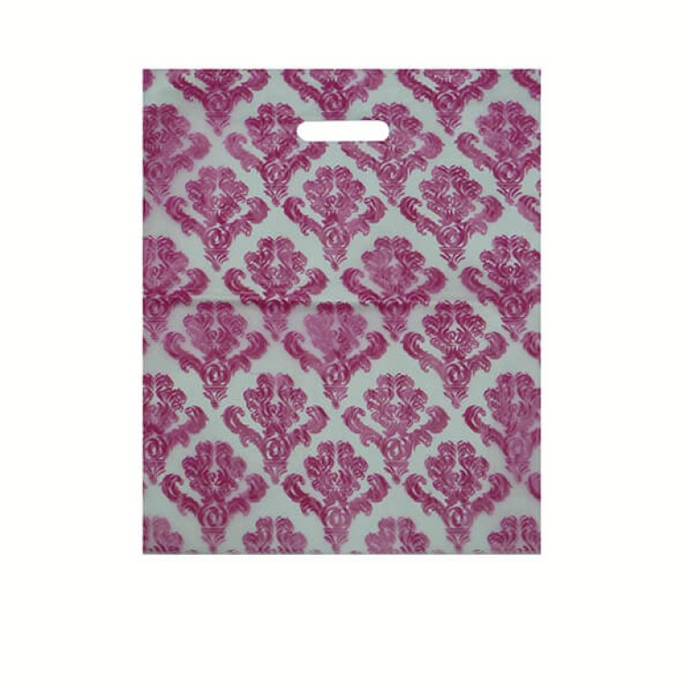 """Pink Damask Carrier Bags 15"""" x 18"""" + 4"""""""
