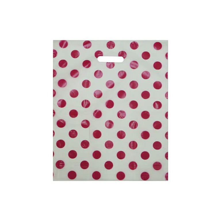 pink spotty carrier bag