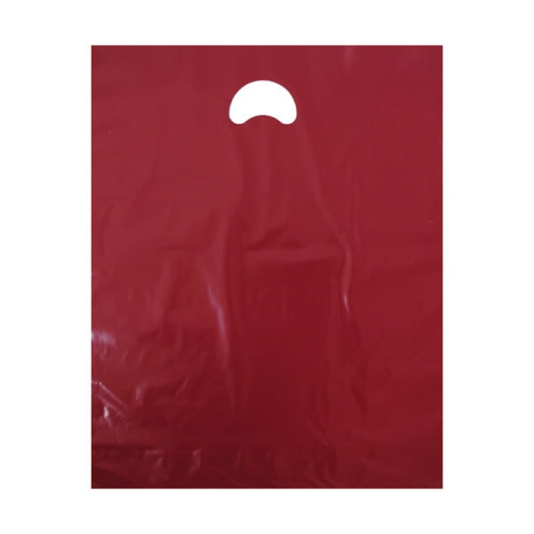 "Burgundy Plastic Carrier Bags (15"" x 18"")"