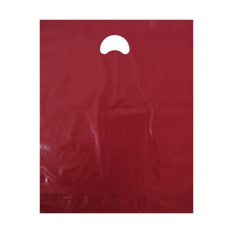 "Burgundy Plastic Carrier Bags (15"" x 18"")"