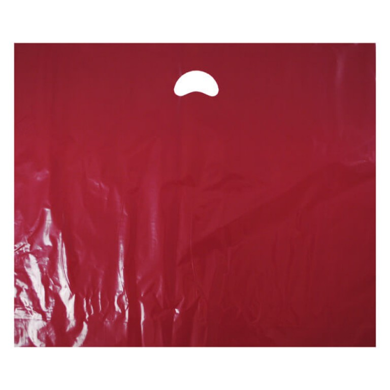 "Burgundy Plastic Carrier Bags - Large (22"" x 18"") - 50"