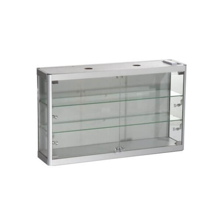 Wall Mounted Triple Tier Glass Display Cabinet with Back Panel