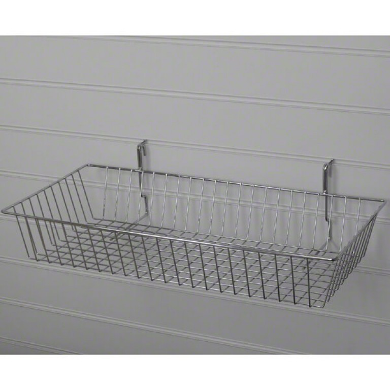 Large Shallow Slatwall Basket / Gridwall Basket (chrome)