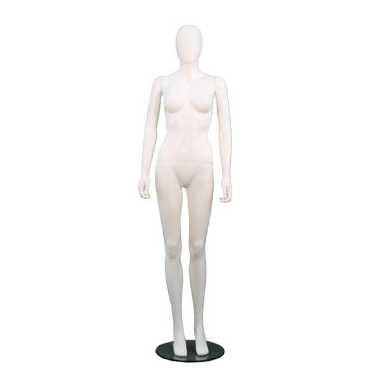 female matt white egg-headed mannequin