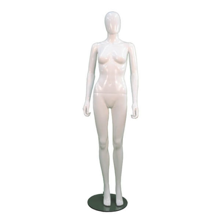 Stylish female white gloss plastic egg headed mannequin.