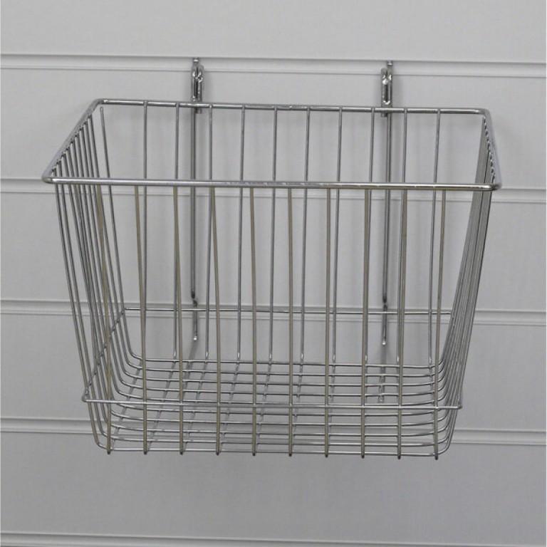 Deep Slatwall Basket / Gridwall Basket (chrome)