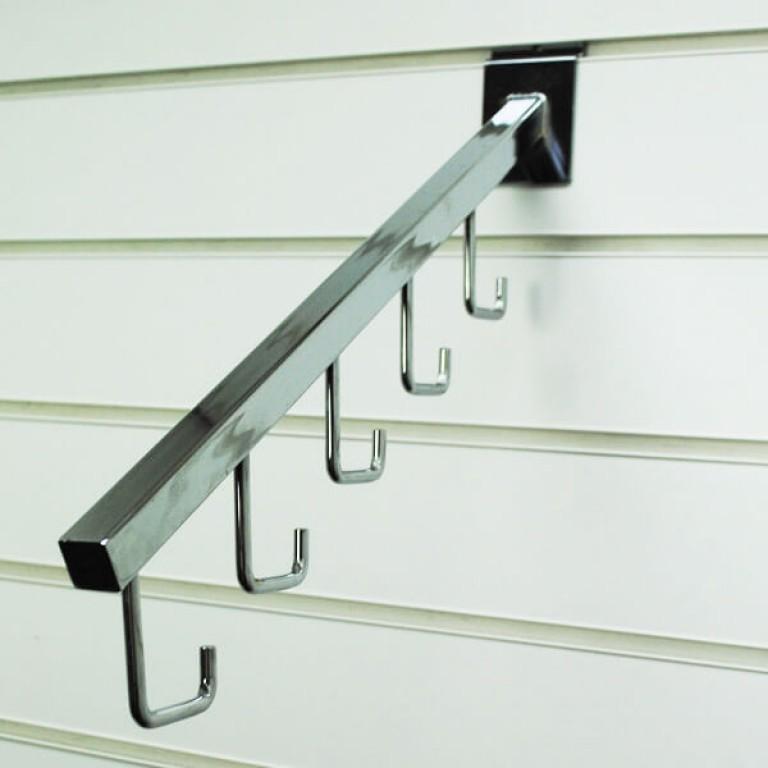 5 Hook Sloping Slatwall Hangers (chrome)