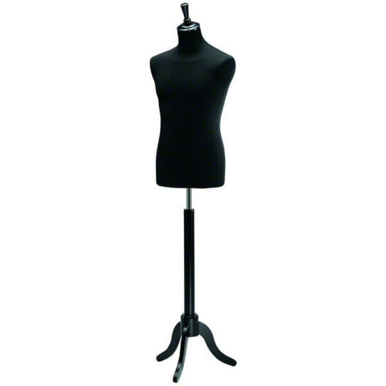Male Tailors' Dummy (black fabric / black tripod base)