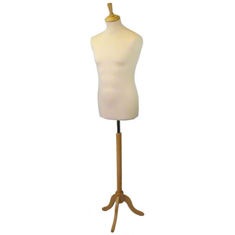 Male Tailors' Dummy (natural fabric / ash tripod)