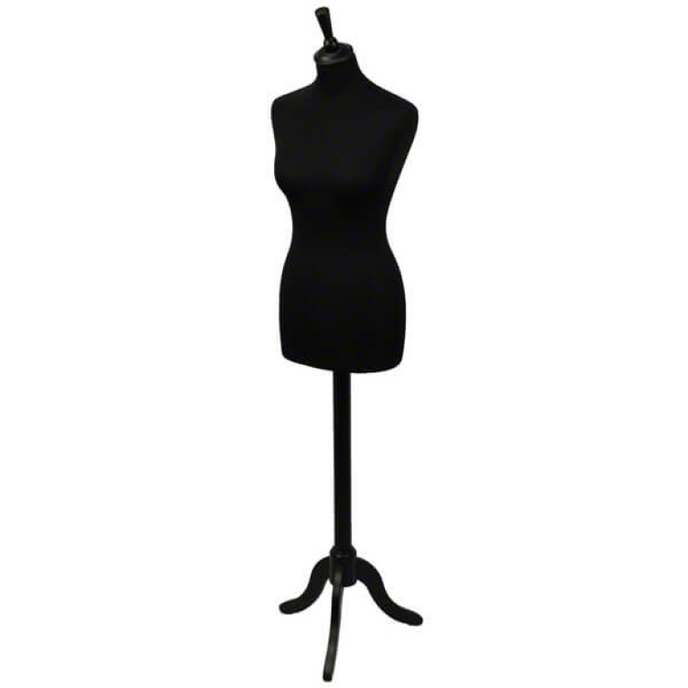 Female Tailors' Dummy (black fabric / black tripod base)
