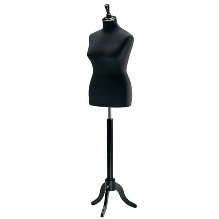 Female Tailors' Dummy (black fabric / black tripod base) extra large