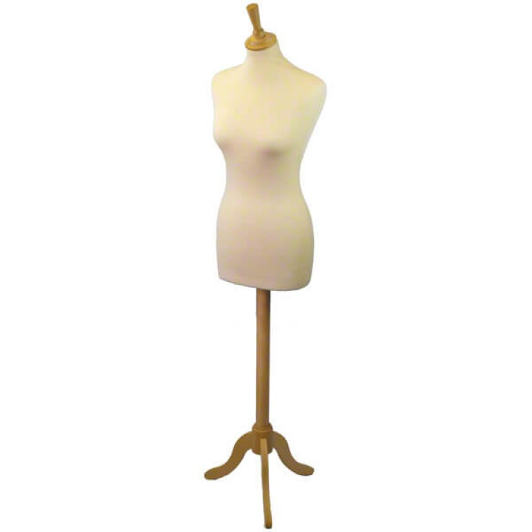 Female Tailors' Dummy (natural fabric / ash tripod)