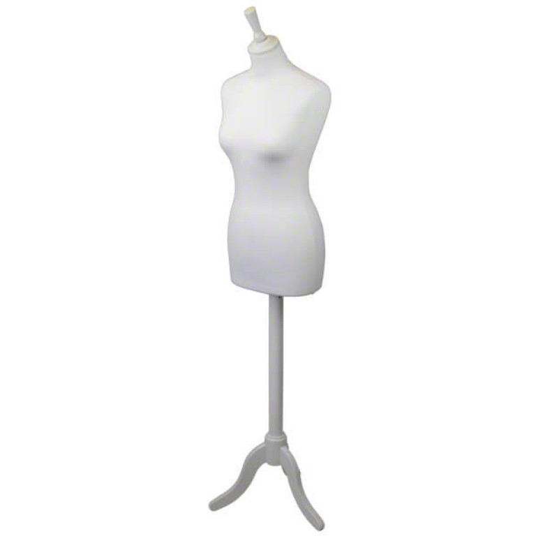 Ladies Tailor's Dummy (white fabric / white tripod)