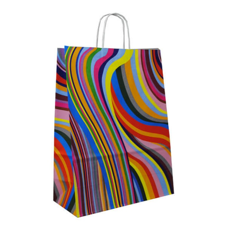 Seventies Style Printed Paper Carrier Bags For Clothes