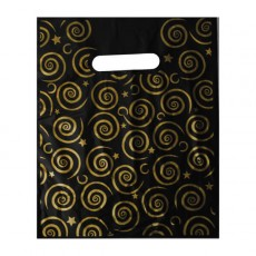 Black and Gold Carrier Bag - 9 inch