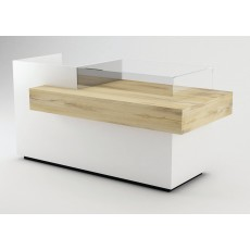 gloss white cash counter with oak surface