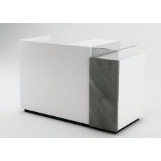 gloss white cash counter with black real stone panel