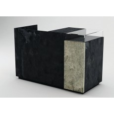 Oxidised Metal Effect Cash Counter (Banco Cassa) With Silver Stone Panel