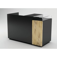 Black cash counter with oak panel