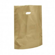 "Gold Plastic Carrier Bags - Small (10"" x 12"")"