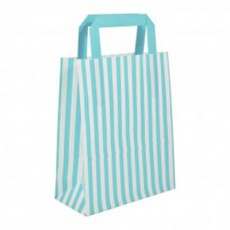Blue and white striped flat handle paper carrier bags