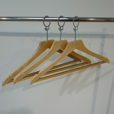 Wooden Hanger with Captive Hook