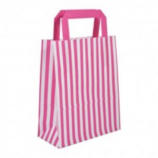 Pink and white striped flat handle paper carrier bags