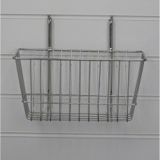 Narrow Slatwall Basket / Gridwall Basket (chrome)