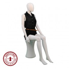 Female Matt White Egghead Seated Mannequin