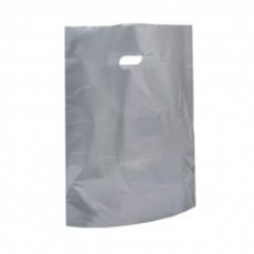 "Silver Plastic Carrier Bags - Small (10"" x 12"")"