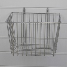 Deep Slatwall Basket / Gridwall Basket (chrome)