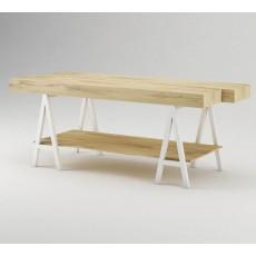 Oak Fashion Display Table With Gloss White Base