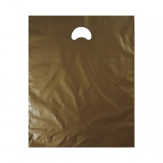 "Gold Plastic Carrier Bags (15"" x 18"")"