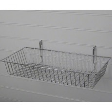 Large Shallow Slatwall Basket / Gridwall Basket (chrome)